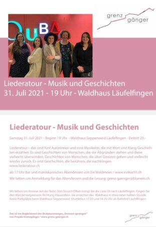 Flyer liederatour laeufelfingen Sandra Rutschi |Autorin Bern